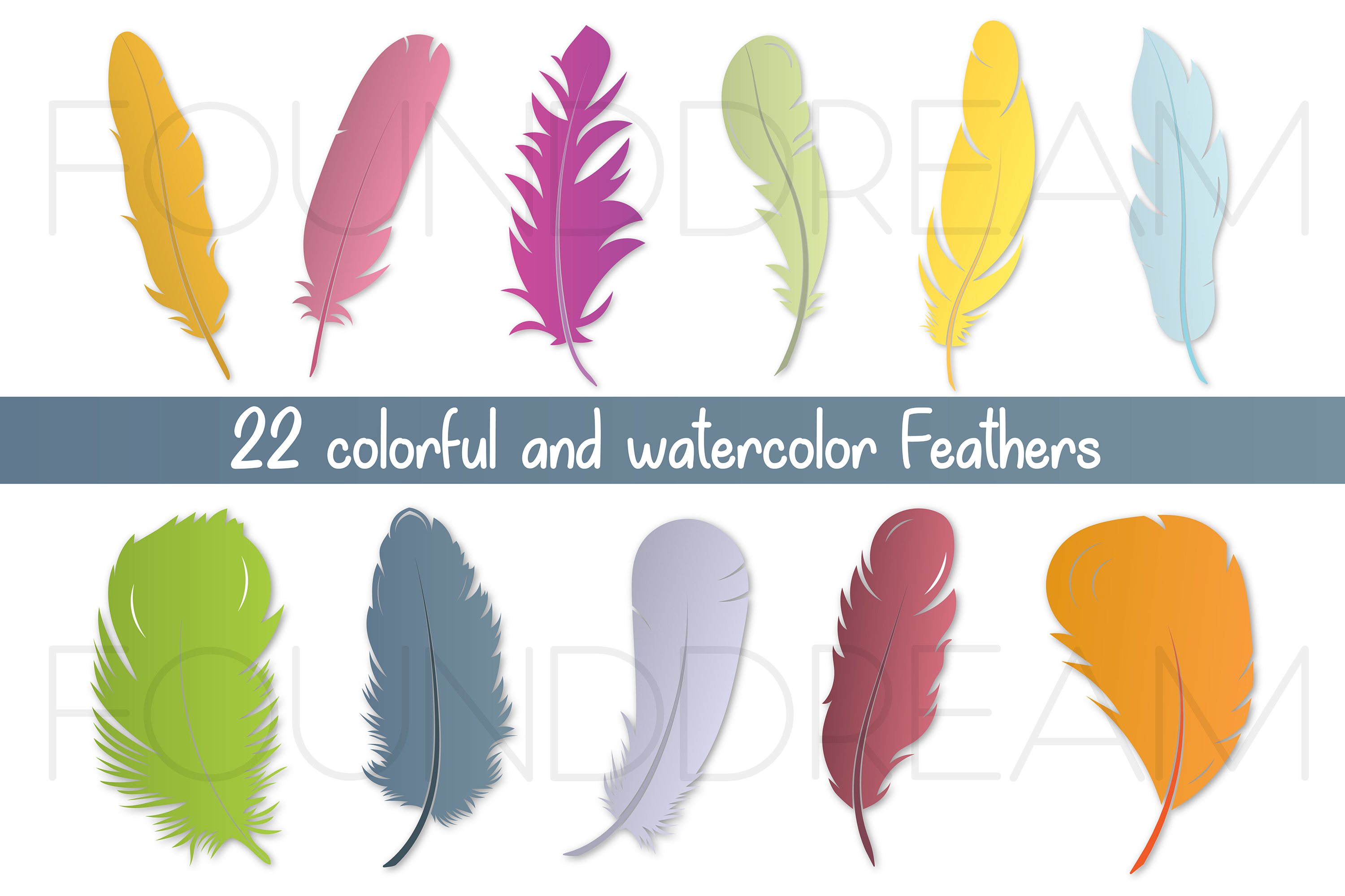 Watercolor Feathers | svg files example image 2