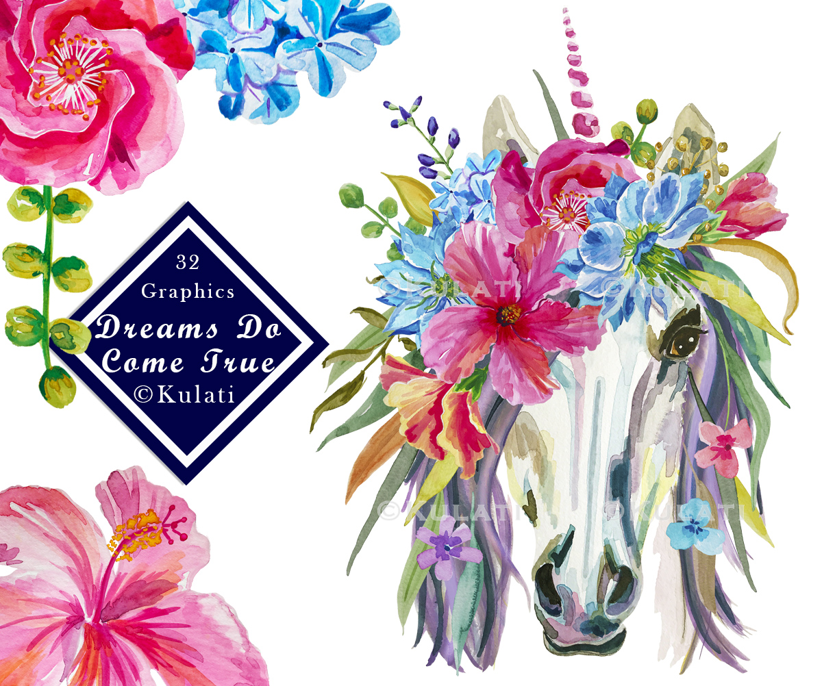 Floral Unicorn Graphics / Clipart / Illustrations example image 1