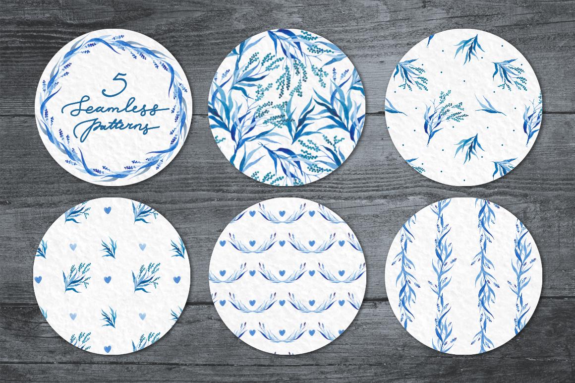 Watercolor design set in blue tones example image 3