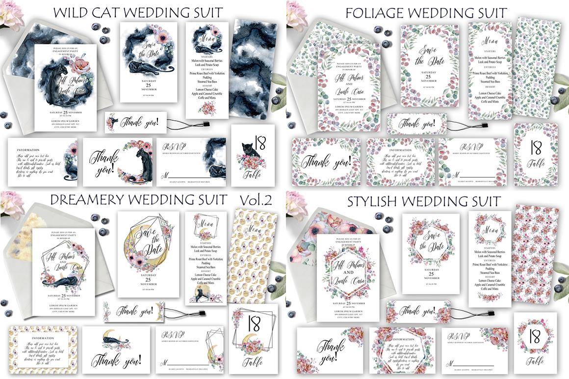 Watercolor Wedding Invitations Suits. GIANT BUNDLE example image 9