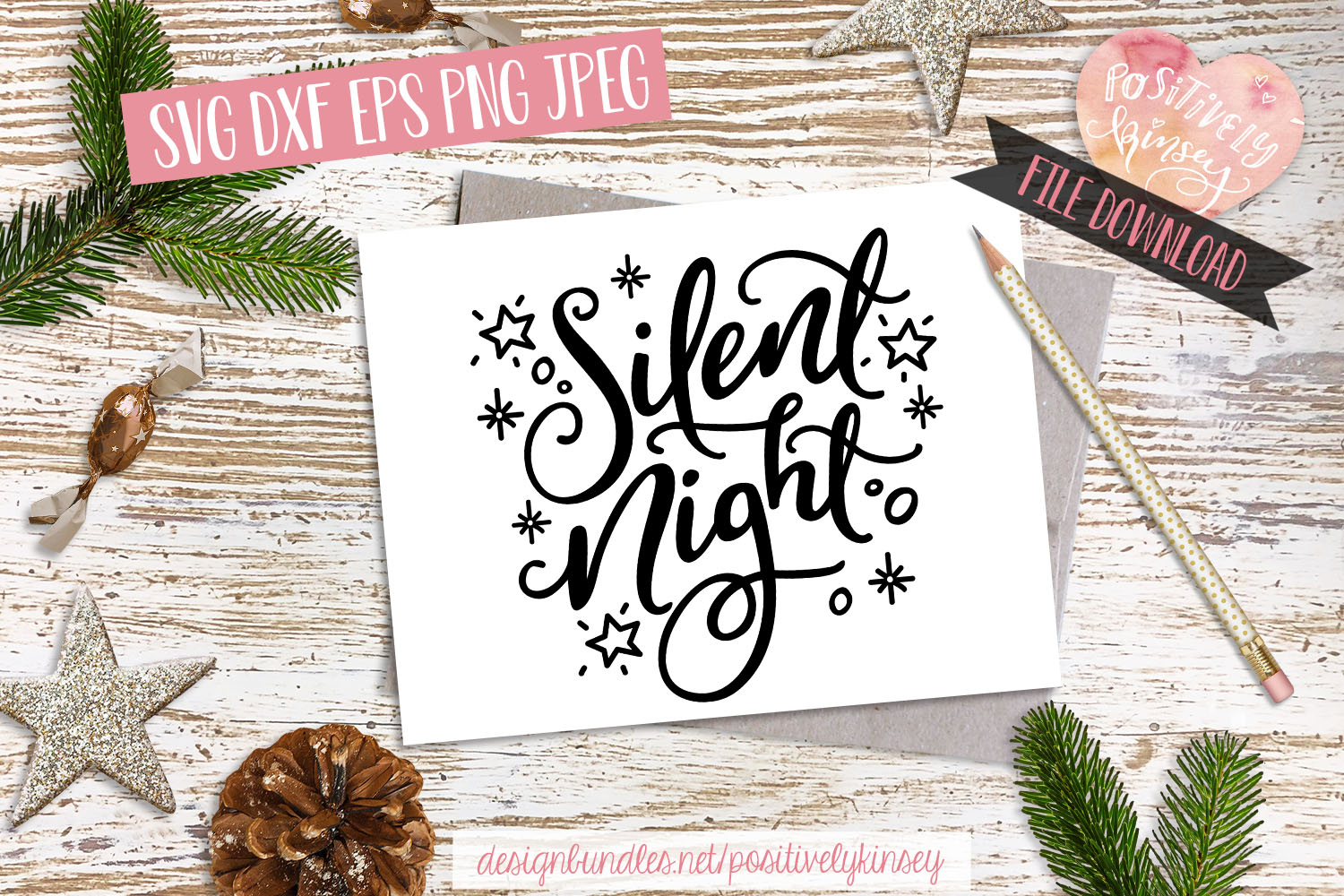 Silent Night SVG DXF PNG EPS, Christmas Song SVG Design example image 3