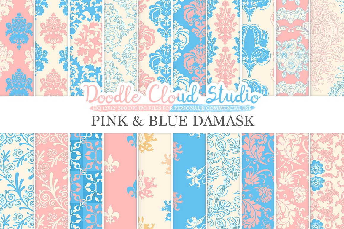 Pink and Blue Damask digital paper, Swirls patterns, Digital Floral Damask, Soft Blue and Pink backgrounds for Personal & Commercial Use example image 1