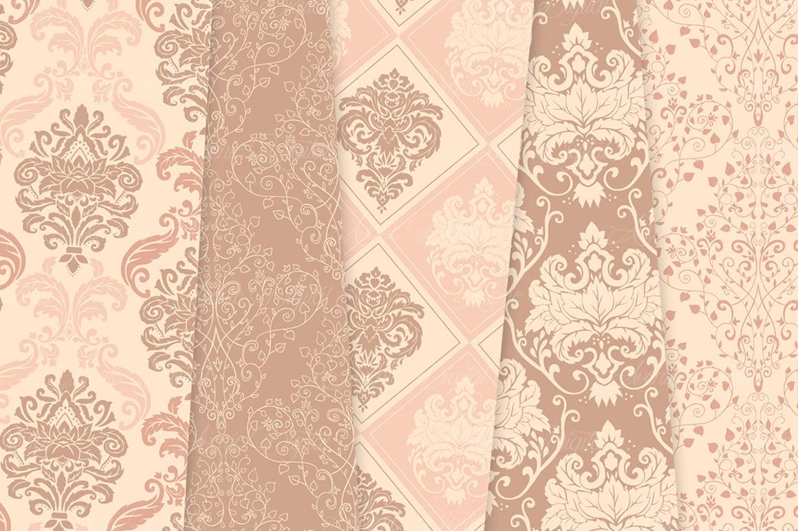 28 Nude Damask Patterns - Wedding Seamless Digital Papers Bundle example image 6