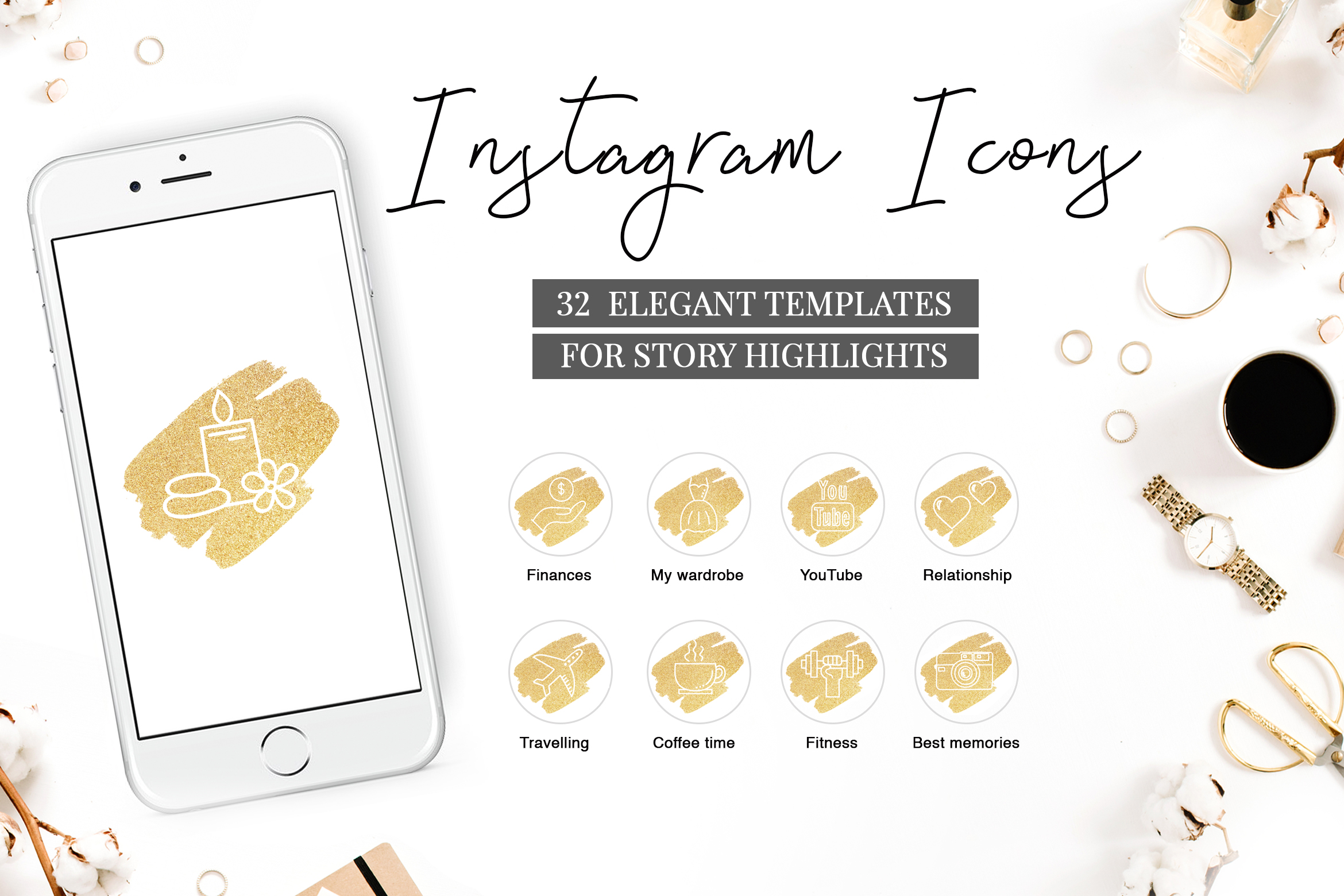 Instagram Highlight Covers GOLDEN BRUSH example image 1