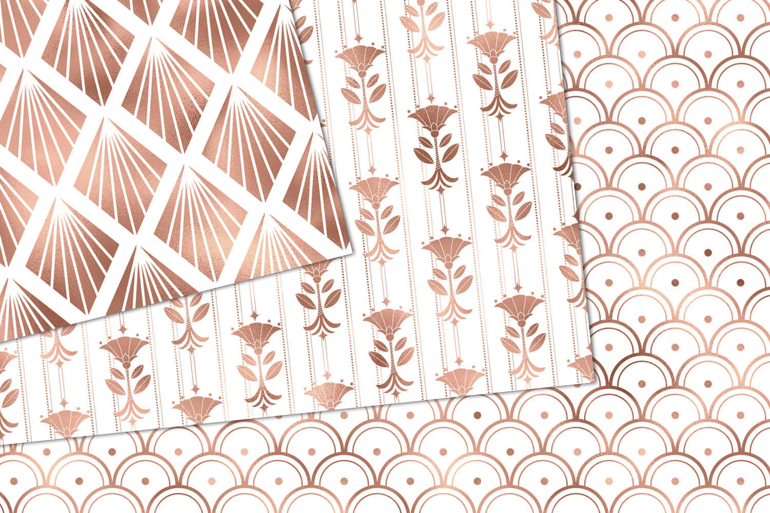 White and Rose Gold Art Deco Digital Paper example image 2