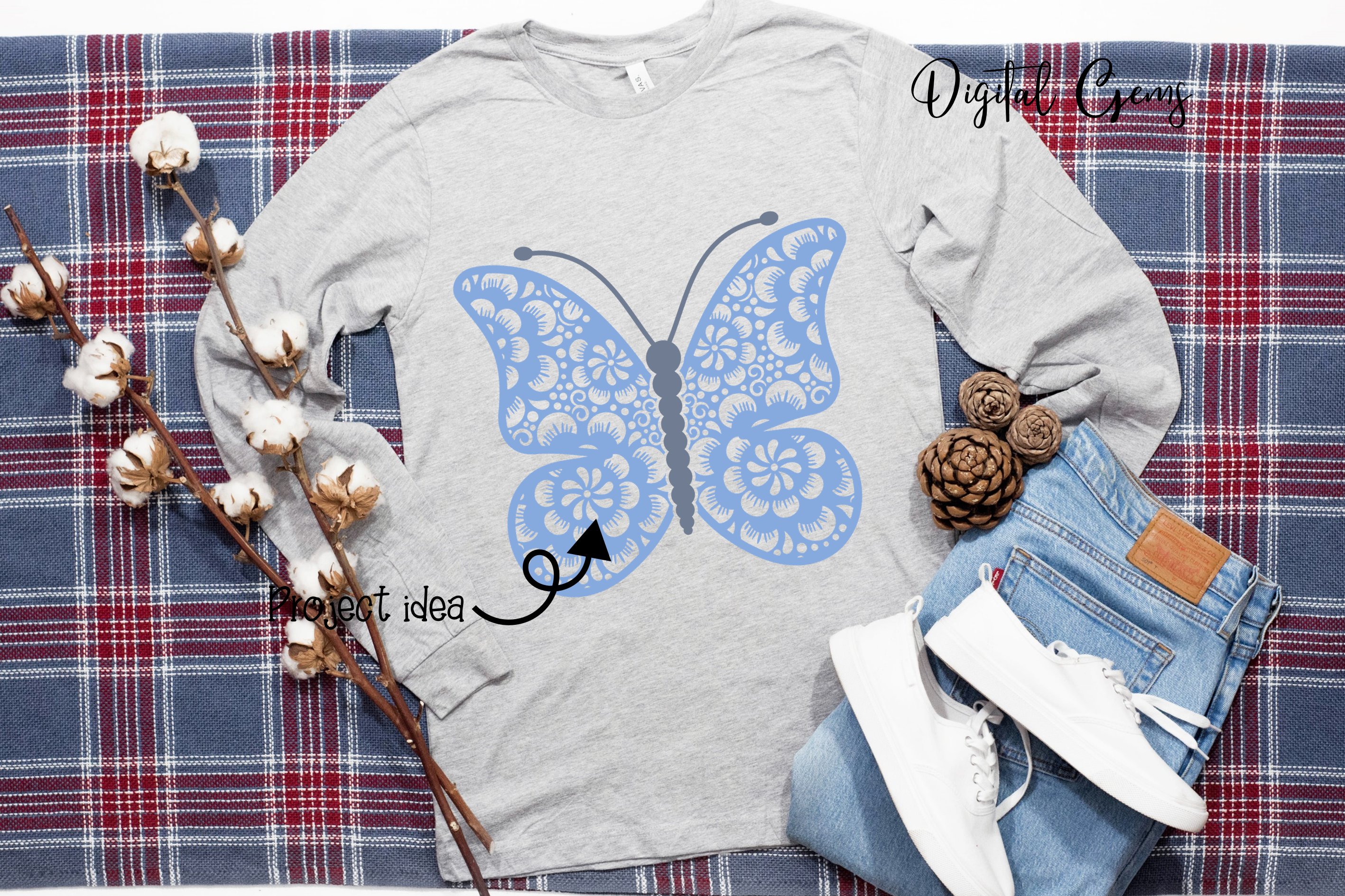 Butterfly SVG / DXF / EPS / PNG files example image 6