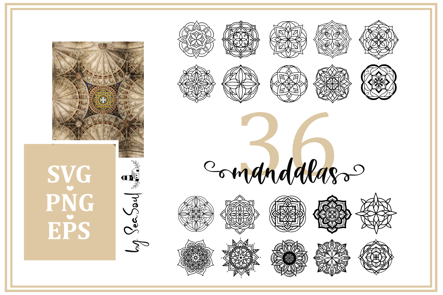 36 hand drawn mandalas. EPS, PNG, SVG Designs example image 1