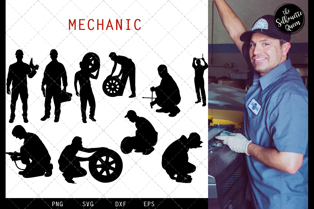 Mechanic svg file, repairman svg cut file, silhouette studio example image 1