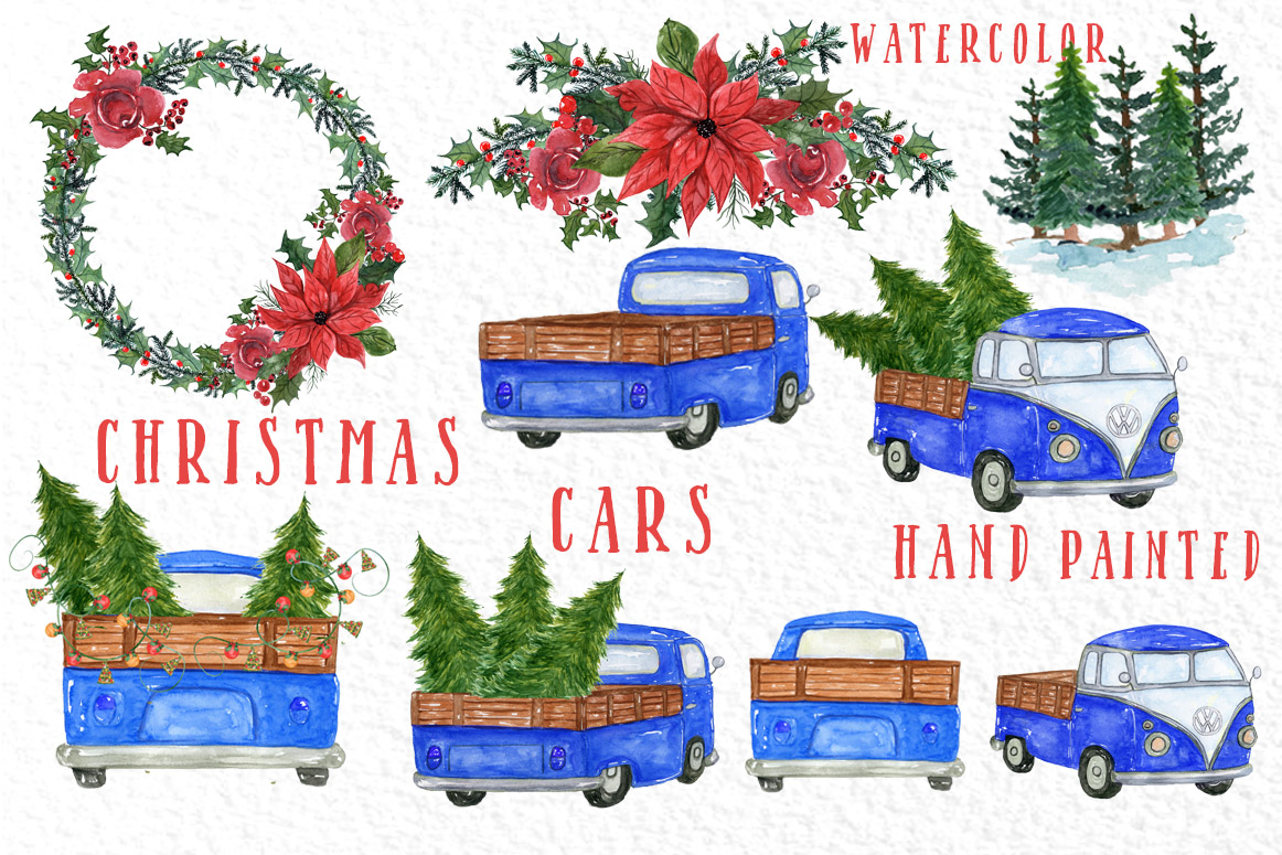 Watercolor Christmas Trucks clipart example image 2