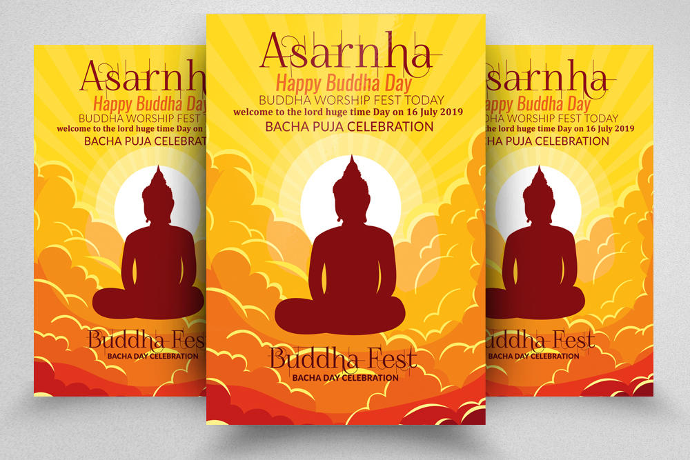 Buddha Worship Day Flyer Template example image 1
