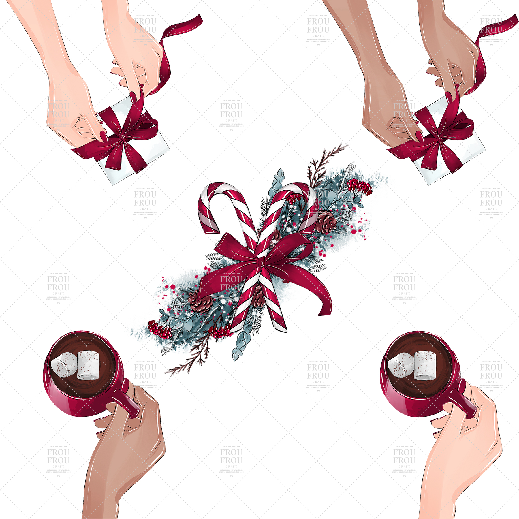 Christmas Tree Winter Present Gift Cozy Clip Art example image 7