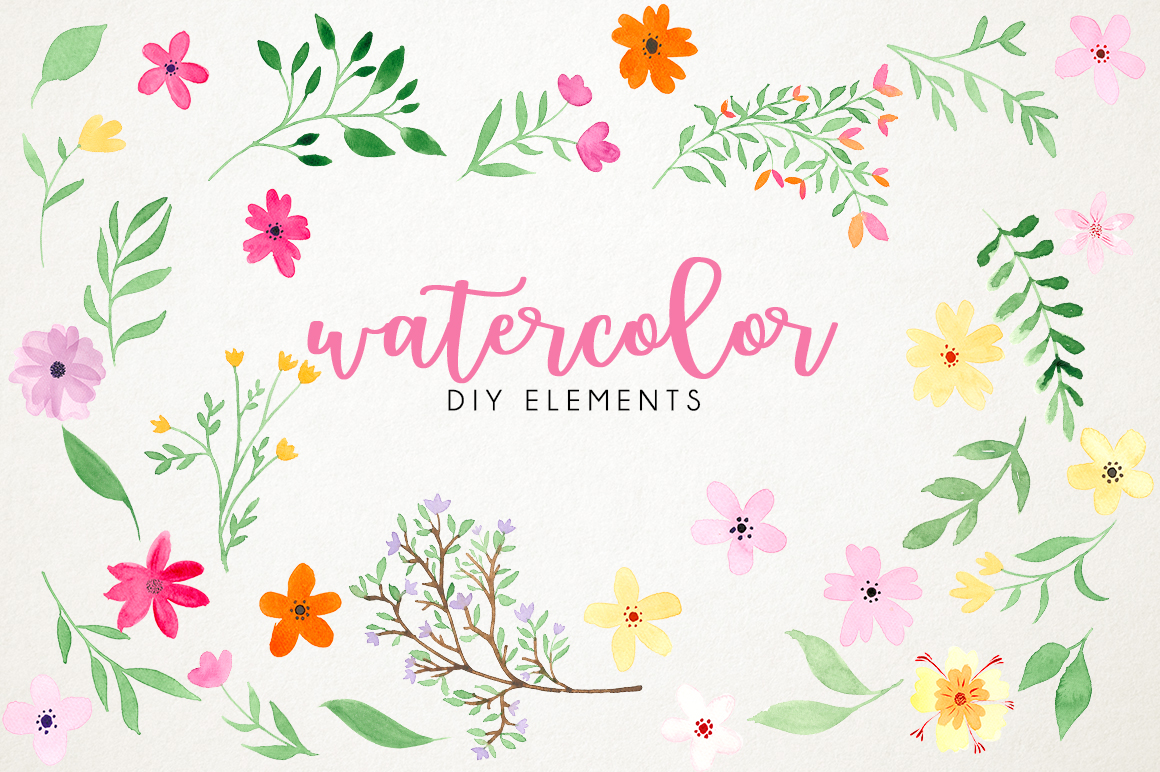 Watercolor fresh spring floral vol.3 example image 2