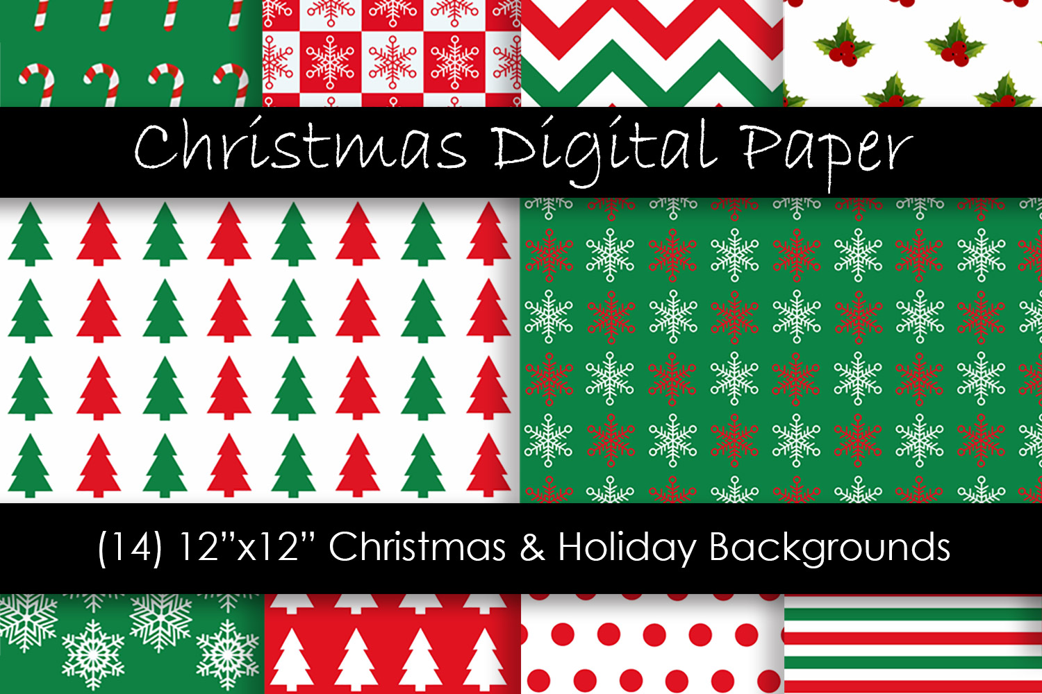 Christmas & Holiday Backgrounds - Red and Green Patterns example image 1