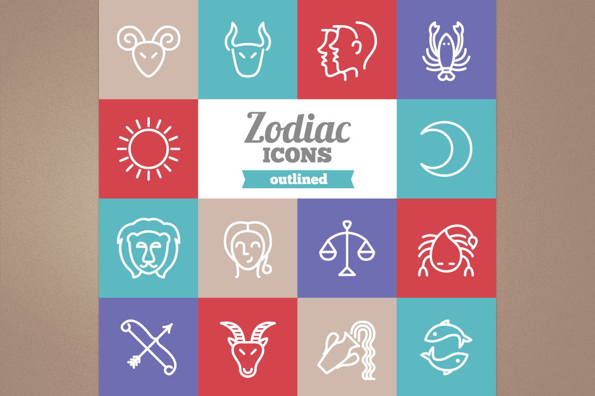 Outlined Zodiac Icons example image 1
