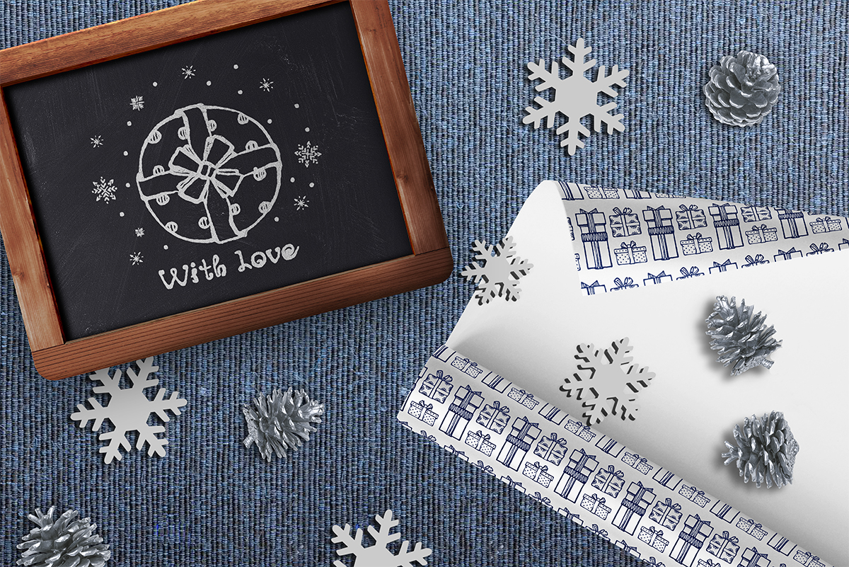 Hand drawn Christmas gift boxes, seamless patterns and cards example image 6