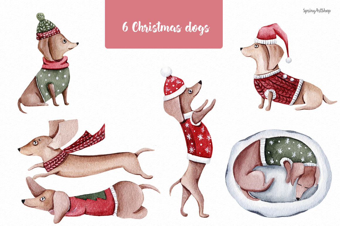 Cute Christmas Dogs Winter Watercolor Clipart