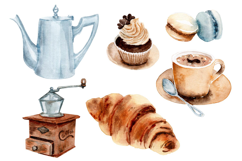 watercolor drawings coffee set example image 4