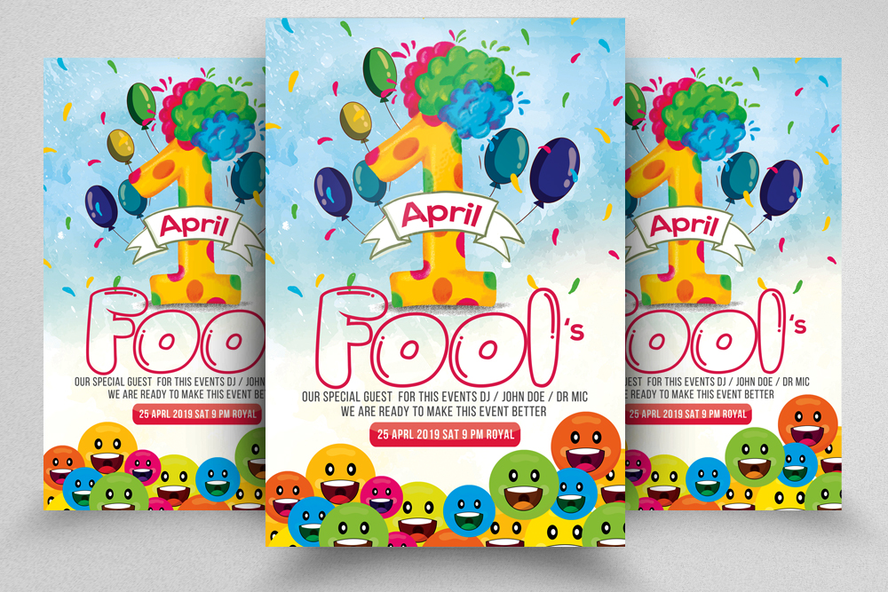 4 April's Fool Day Flyers Bundle example image 3