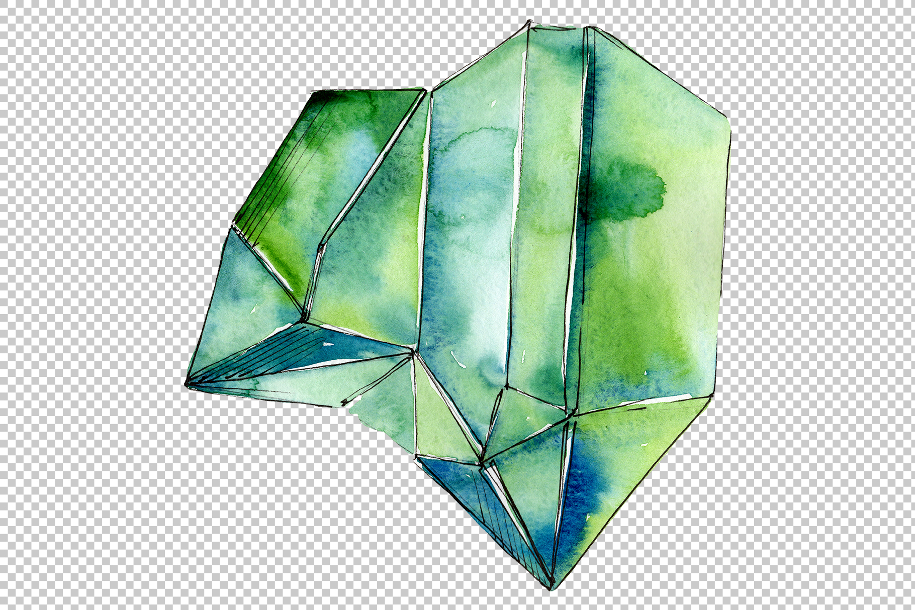 Crystals orange and green Watercolor png example image 4