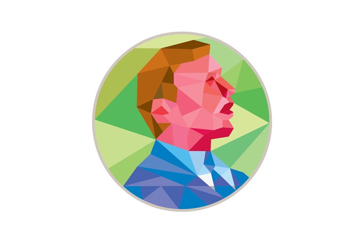 Businessman Looking Up Circle Low Polygon example image 1