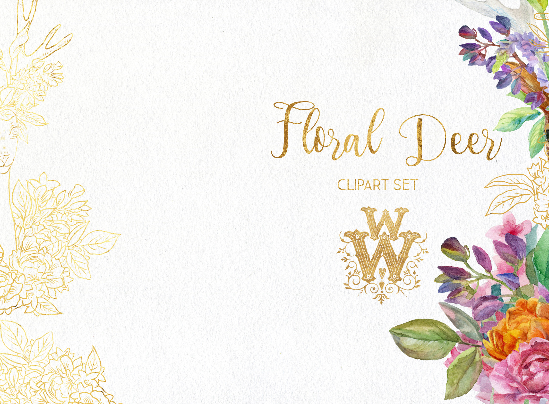 Watercolor floral deer printable clipart, golden graphics example image 4