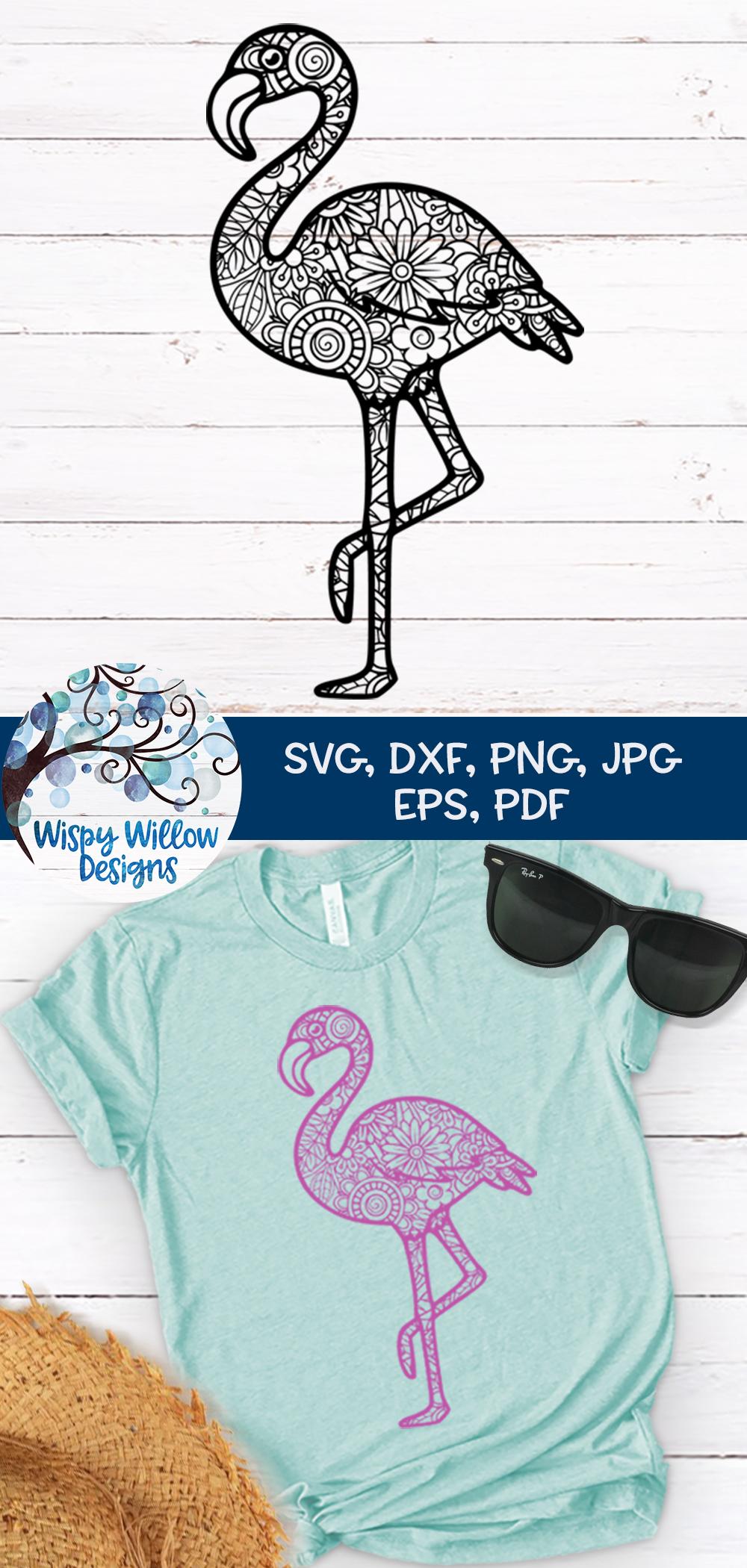 Flamingo Zentangle SVG example image 3
