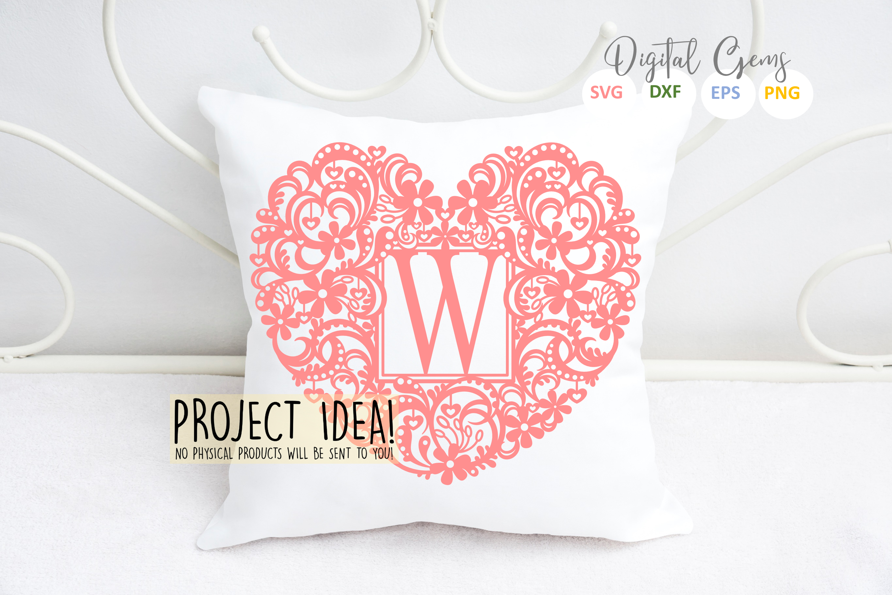Letter W paper cut design. SVG / DXF / EPS / PNG files example image 3