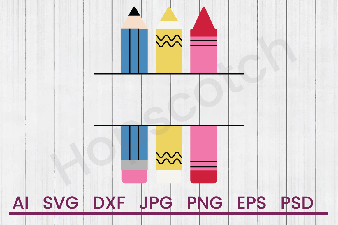 Crayons SVG, DXF File, Cuttatable File example image 1