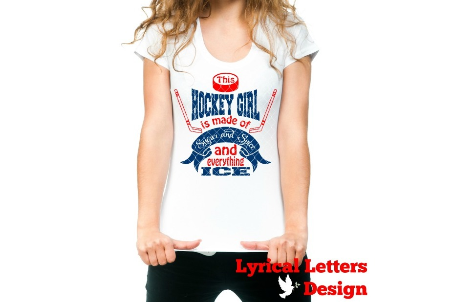 Sugar and Spice Hockey Girl SVG DXF Cut File LL024F example image 2