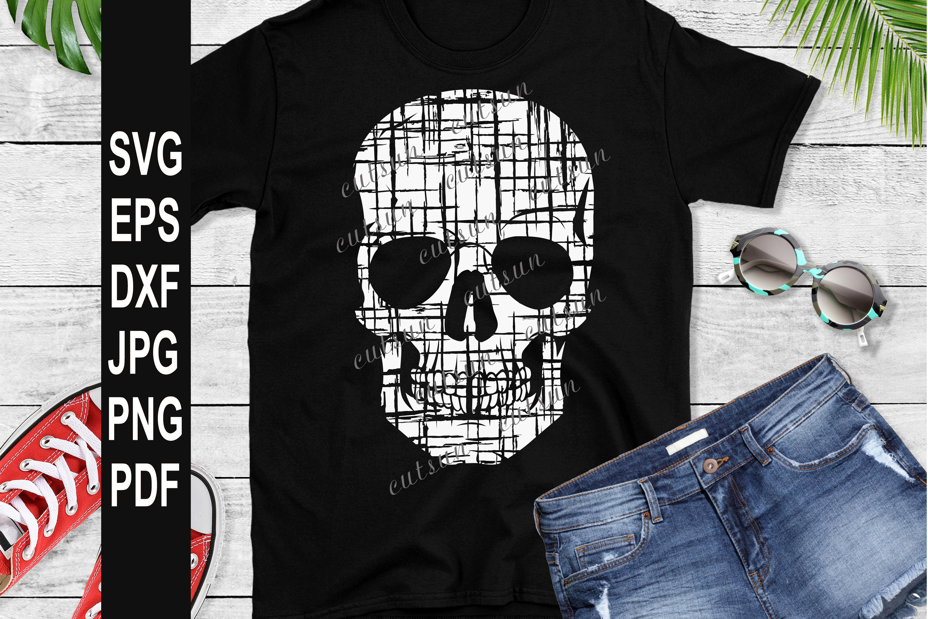 Distressed skull SVG example image 2