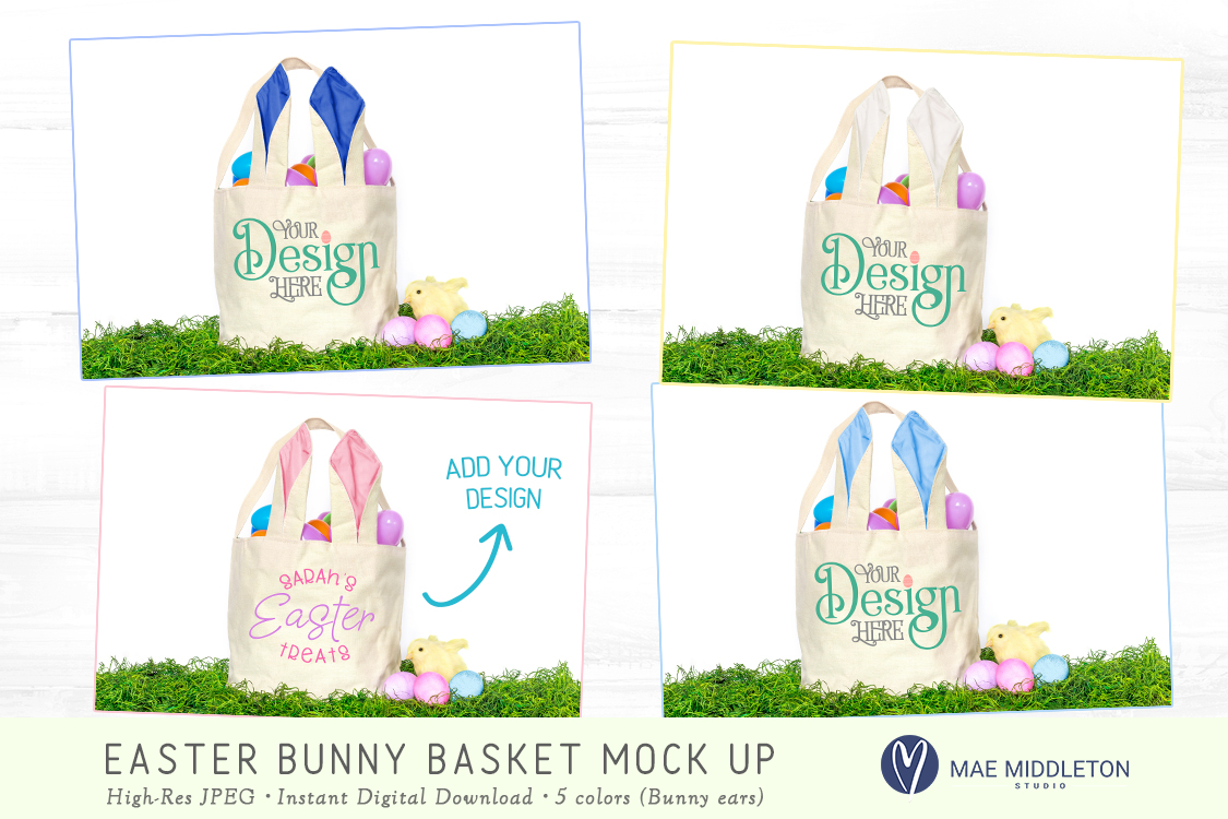 Easter Basket with bunny ears Mock up example image 2