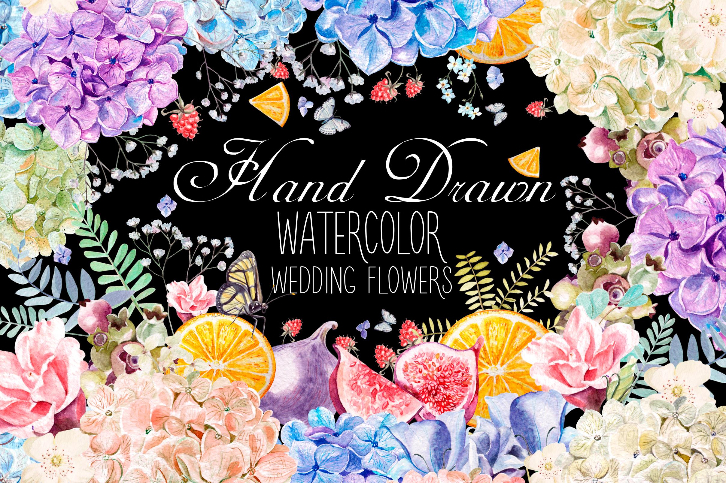 HandDrawn WATERCOLOR Wedding Flowers example image 1