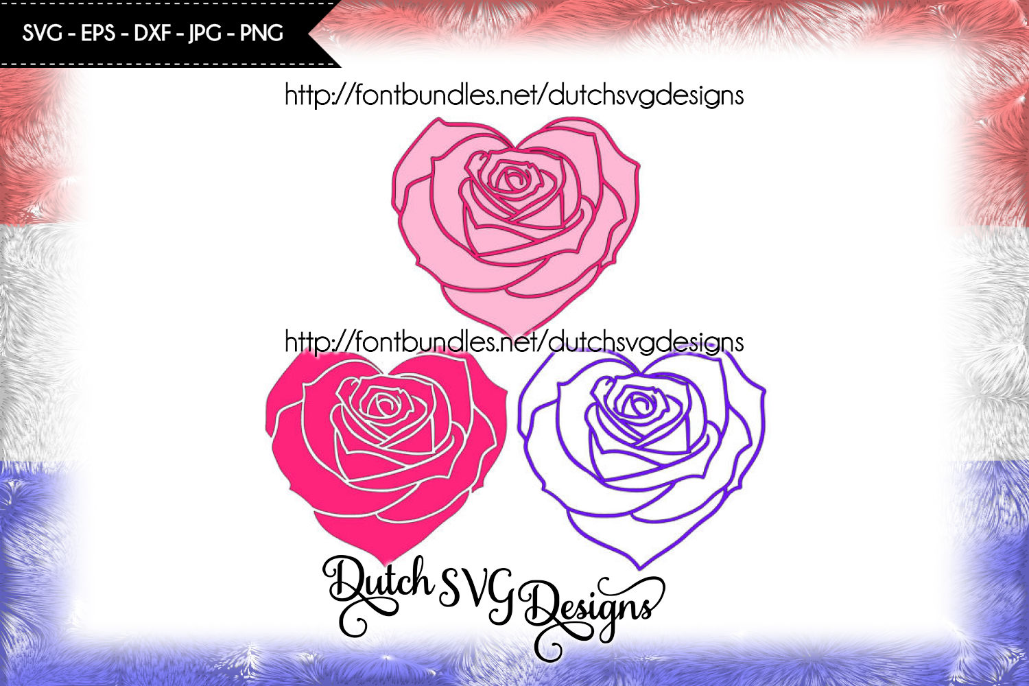 Cutting file rose in heart shape (3 files) example image 1