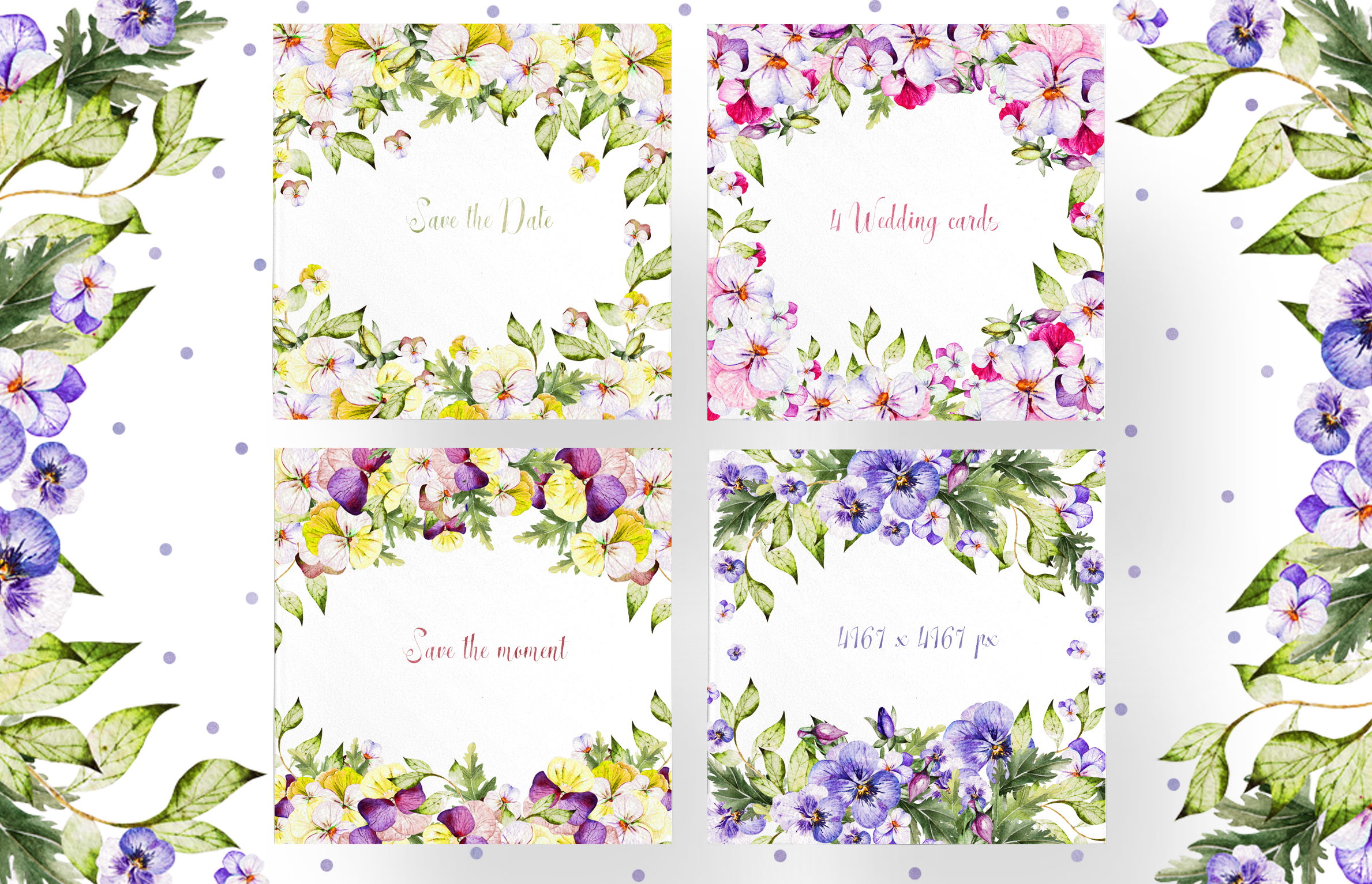 Watercolor PANSY FLOWERS example image 8