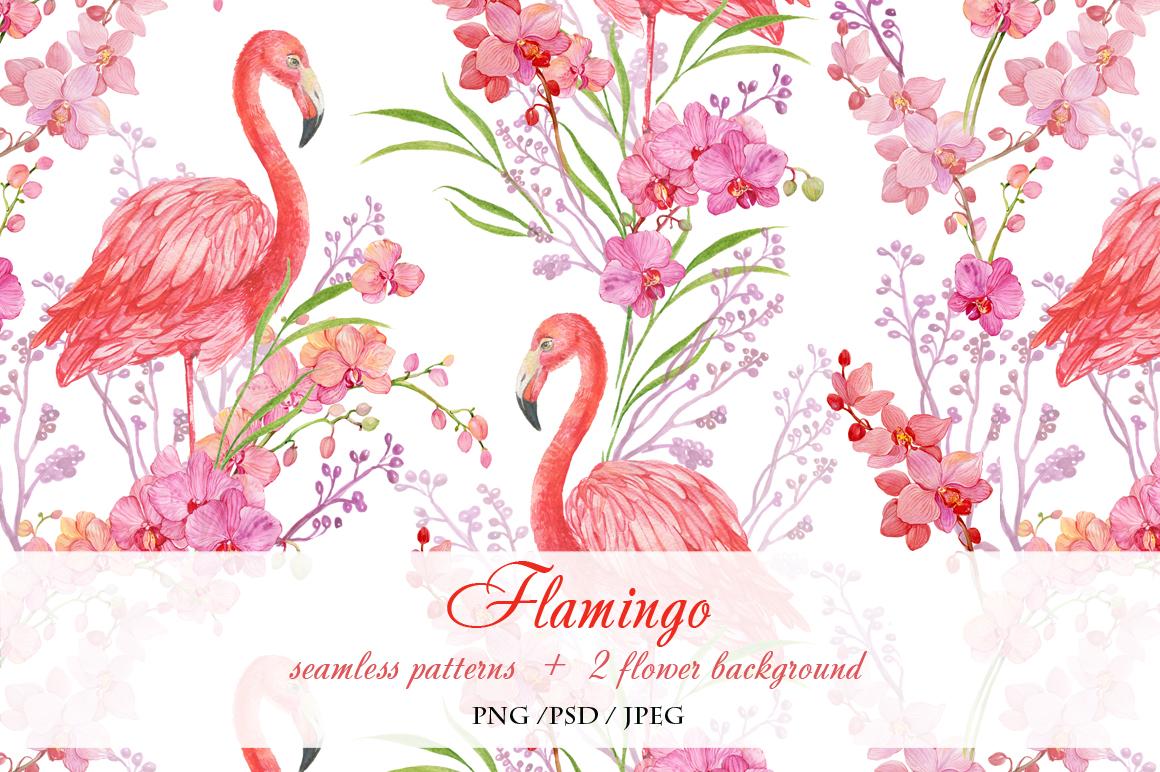 Flamingo seamless patterns example image 6