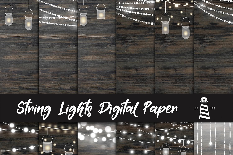String Lights Digital Paper example image 1