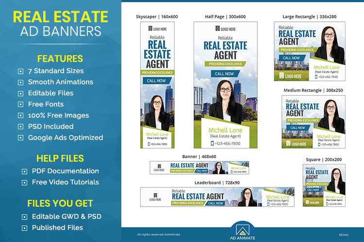 Real Estate Agent Animated Ad Banner Template - RE002