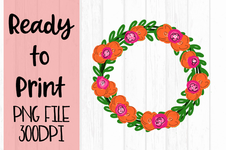 Bright Pink and Orange Wreath Ready to Print example image 1
