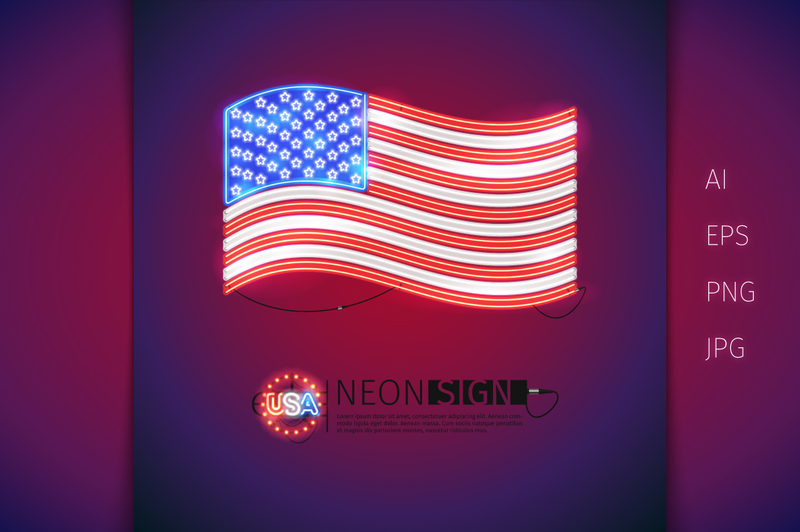 Glowing Neon USA Flags Set example image 5