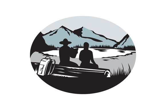 Two Trampers Sitting on Log Lake Mountain Oval Woodcut example image 1