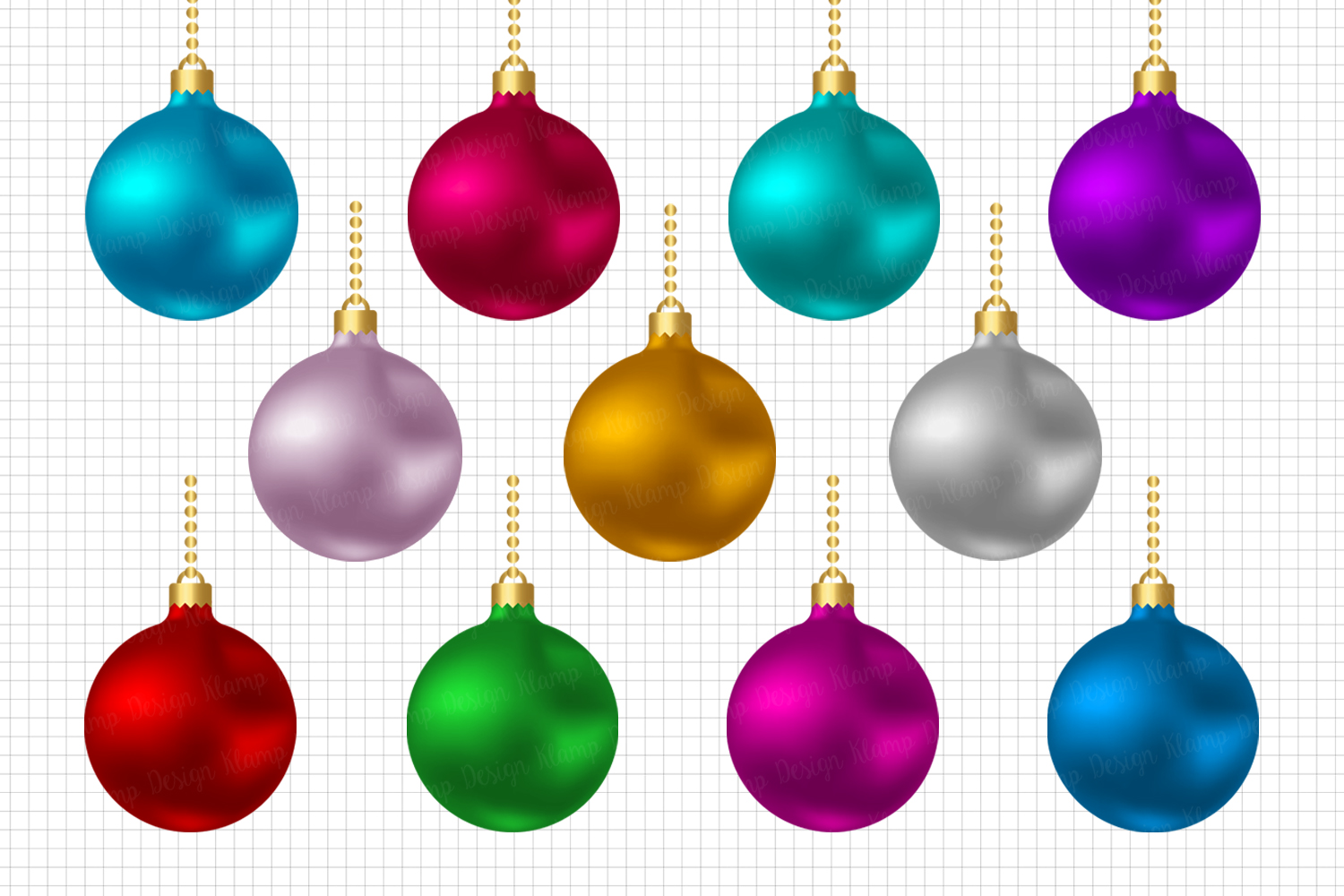 Christmas Balls Clipart, Christmas Graphic and Illustrations, Scrapbooking, Card Making, Decorations example image 1