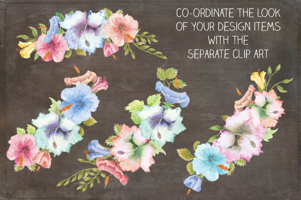 Wreath of Hibiscus flowers in pastel shades example image 3