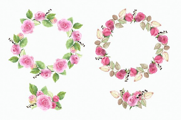 Watercolor Roses Clip Art example image 3