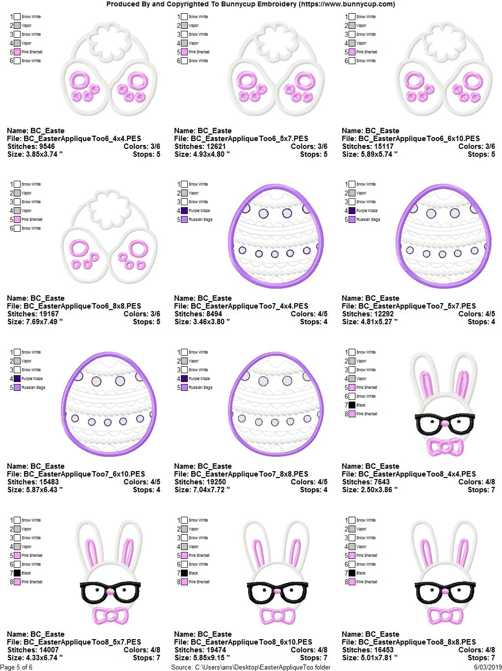 Easter Applique Too - 16 Machine Embroidery Designs example image 22