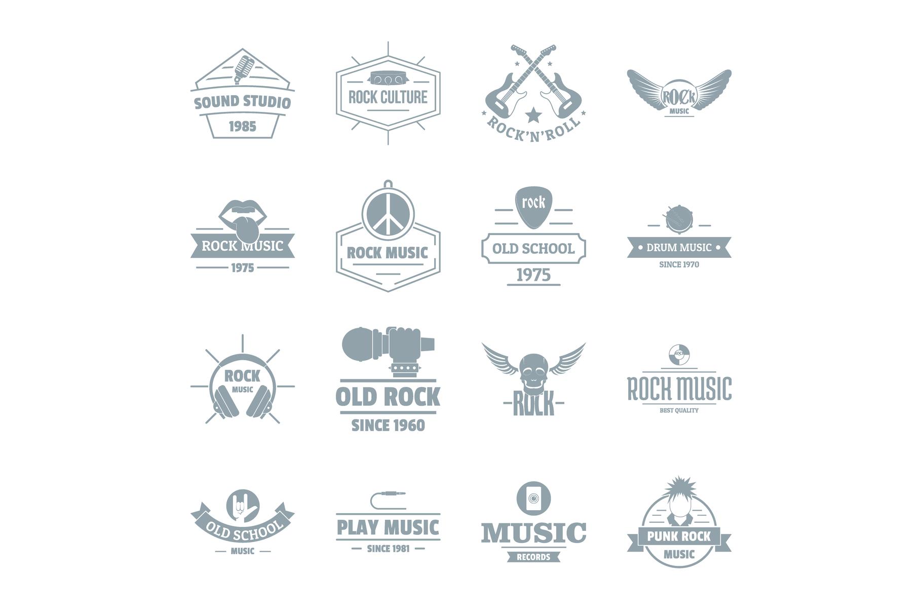 Rock music logo icons set, simple style example image 1