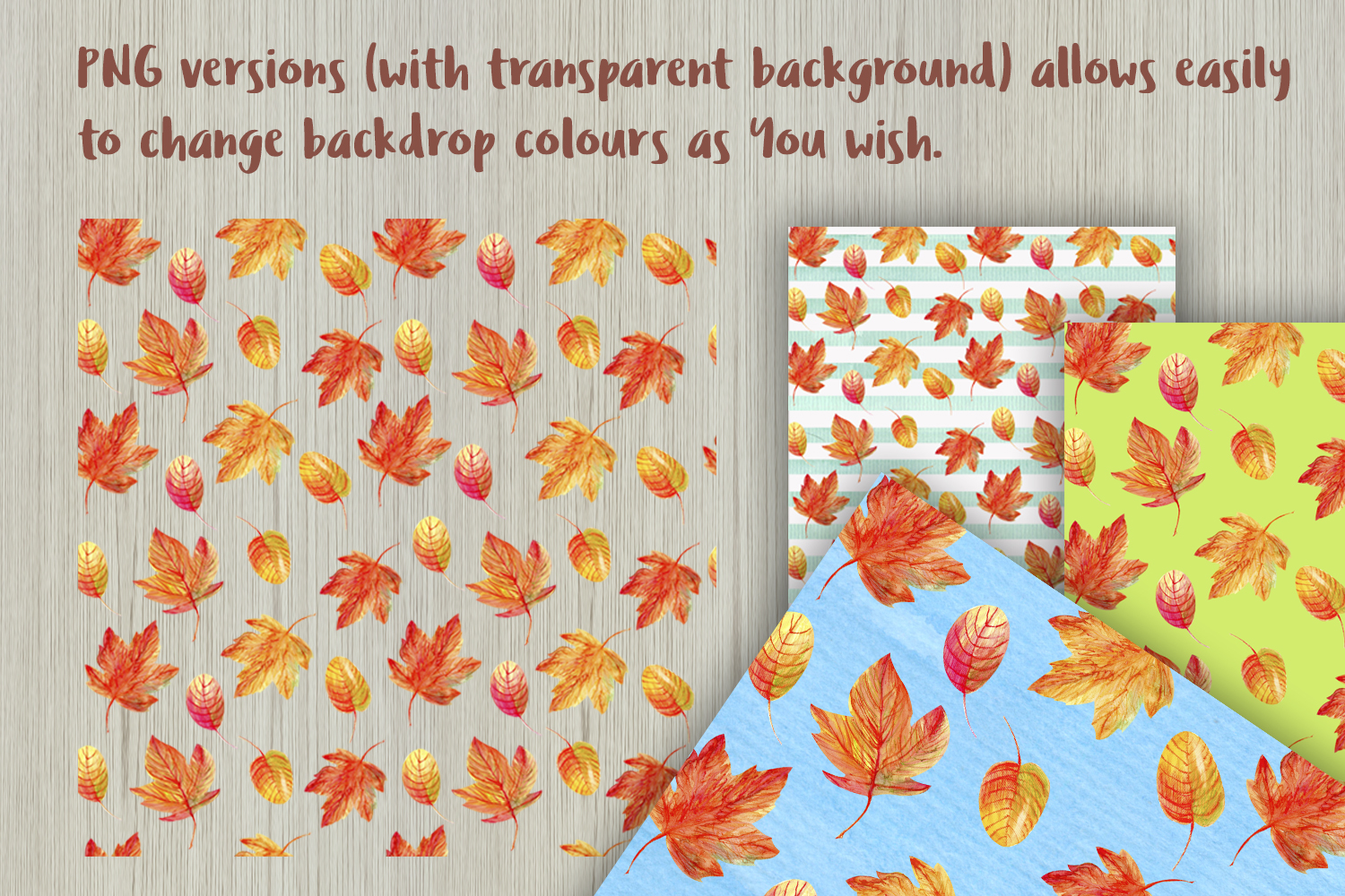 Autumn Watercolor Seamless Patterns Set example image 6