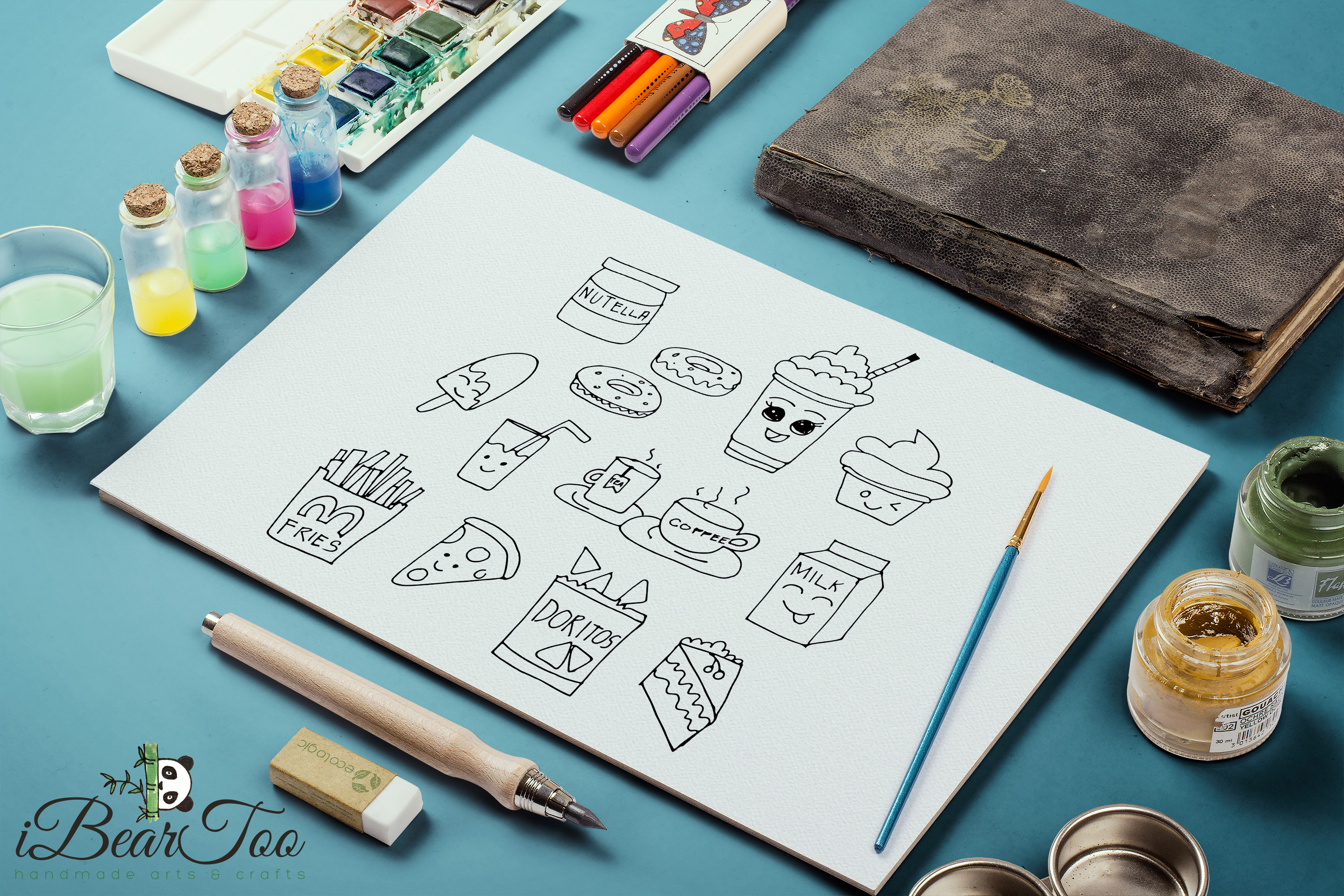 Food SVG Bundle Clipart Doodle Drawing Vector Cut Files example image 4