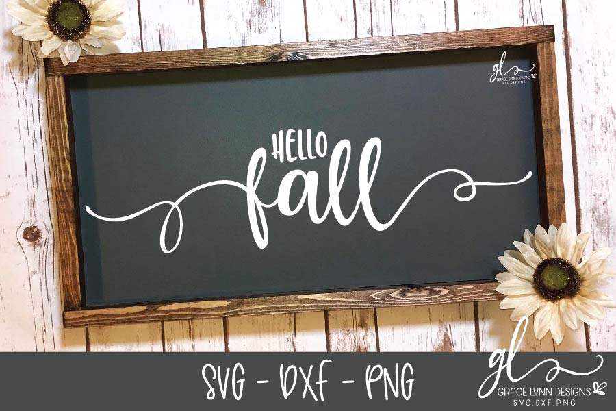 Hello Fall - Thanksgiving Cut File - SVG, DXF & PNG example image 1