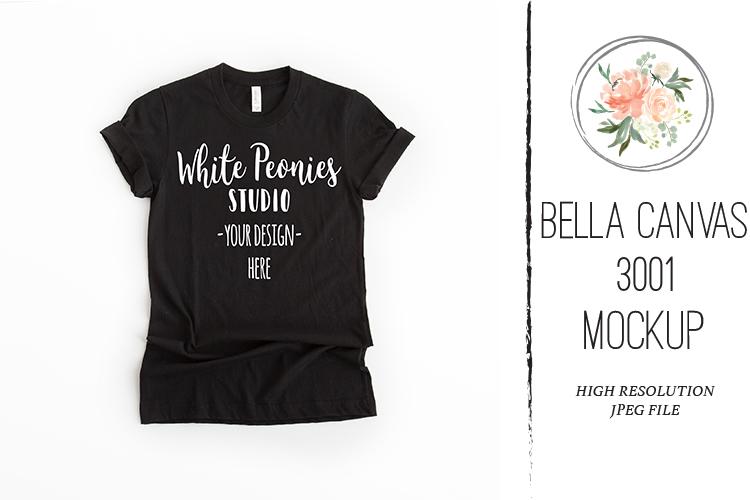 Black Bella Canvas 3001 Shirt Mockup example image 1