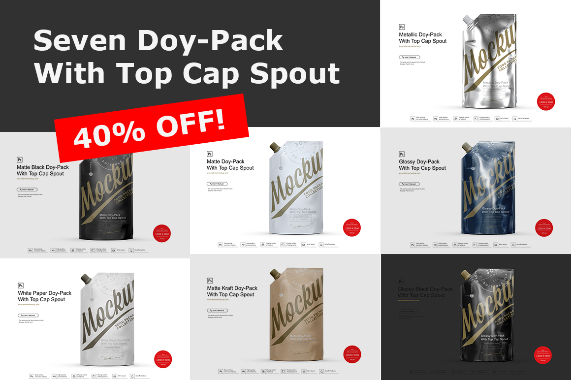 Seven Doy-Pack With Top Cap Spout example image 1